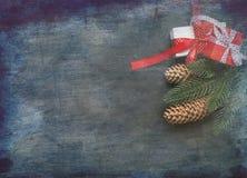Christmasgift-Kasten, Niederlassungen, Bälle, Perlen, Kegel, Weihnachtsba Lizenzfreie Stockfotografie