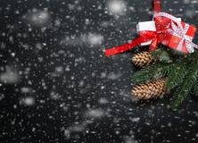 Christmasgift-Kasten, Niederlassungen, Perlen, Kegel, Weihnachten schneien zurück Stockfotos
