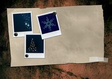 Christmaspictures. Christmas pictures polaroids on grunge paper Royalty Free Stock Photography