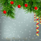 Christmasr Greeting card with Christmas tree, red balls and  rib. Christmas and New Year Greeting card with Christmas tree, snowflakes, red Christmas balls and Stock Photo