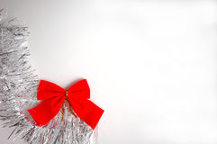 Christmass. Bow and christmass ornament on white background Stock Photo