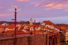 在桥梁的Christmass装饰,马里博尔 库存照片