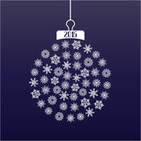 Christmass ball. Decoration with snowflakes and 2015 numbers Stock Photos