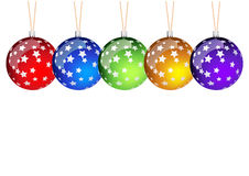 Christmass balls. Color christmas balls isolated on the white Royalty Free Stock Photography