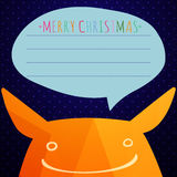 Christmass card  with cute monster. Background made of triangles. Square composition with geometric shapes Stock Images