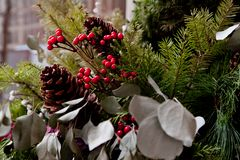 Christmass composition with red berries, pine cones and spruce royalty free stock image