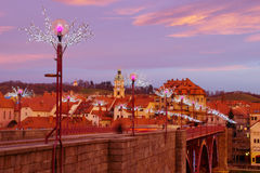 Christmass Decoration On The Bridge, Maribor Stock Photo