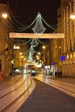 Christmass decoration in the city. Christmass decoration in Zagreb, Croatia. Shot of Ilica street Royalty Free Stock Image