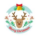 Christmass deer flat style vector logotype Stock Photography