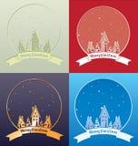 Christmass-Dorfdesign mit Beschriftung Lizenzfreie Stockbilder
