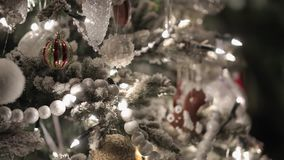 Christmass fir tree. With decoration stock footage