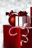 Christmass gift on bokeh background Royalty Free Stock Images