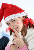 Christmass girl. Girl with red christmass cap Stock Photos