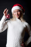 Christmass girl with here christmass toy. Christmass girl holding beatuful christmass toy Royalty Free Stock Photography