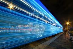 Christmass-Lichter auf einer Tram Stockfotografie