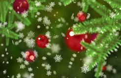 Christmass mood snowflakes falling on a green fir tree branches Bokeh background Royalty Free Stock Images