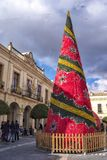Christmass and New Year tree in Ronda, Andalucia, Spain stock photography