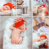 Christmass newborn baby photos Royalty Free Stock Photography