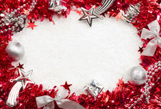 Christmass red and silver frame Royalty Free Stock Photos