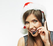 Christmass Santa woman close up face portrait. Bus. Iness woman worker operator. White background Stock Photo