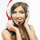 Christmass Santa woman close up face portrait. Bus. Iness woman worker operator. White background Stock Photography