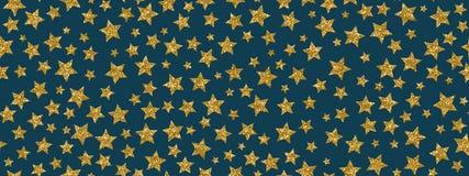 Christmass schittert gouden sterren herhaalt naadloze patroonachtergrond Kan voor Stof, Behang, Kantoorbehoeften, Verpakking word vector illustratie