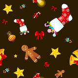Christmass seamless pattern gingerbread man cookies, jingle bells stocking gifts, xmas background decoration elements. Christmass seamless pattern with Stock Image