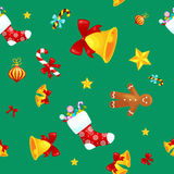 Christmass seamless pattern gingerbread man cookies, jingle bells stocking gifts, xmas background decoration elements. Christmass seamless pattern with Royalty Free Stock Photos