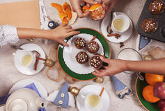 Christmass time tea party with homemade muffins Stock Images
