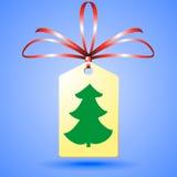Christmass träd på klistermärke Arkivbild