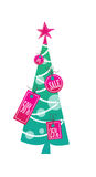 Christmass tree. A festive christmas tree with missle toe and ornaments in shapes of sales tags Stock Photo