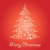 Christmass tree. Christmass card with tree made of snowflakes Stock Images