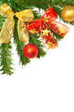 Christmass tree branches, balls and ribbons Royalty Free Stock Photo