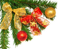 Christmass tree branches, balls and ribbons Royalty Free Stock Images