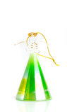 Christmass tree decoration ball green angel of glass isolated on. White royalty free stock photography