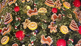 Christmass tree decoration details stock video
