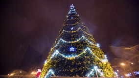 Christmass tree with garland at evening city stock video footage