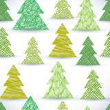Christmass tree seamless pattern, hand drawn lines textures used Stock Images