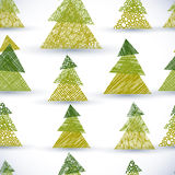 Christmass tree seamless pattern, hand drawn lines textures used Royalty Free Stock Photography
