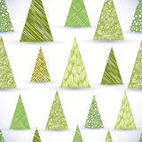 Christmass tree seamless pattern, hand drawn lines textures used.  Royalty Free Stock Images