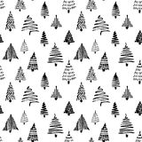 Christmass tree seamless pattern. Vector illustration. Black Hand drawn doodle sketch with ink. Design for wrapping Royalty Free Stock Images