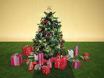 Christmass tree with several gifts, on a green carpet Stock Photos