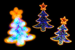Christmass tree shape lights decorations Stock Photo
