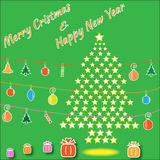 Christmas tree made from stars. Christmas tree made from stars with varicolored christmas decoration Royalty Free Stock Photos