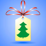 Christmass tree on sticker. Christmass tree on label Stock Photography