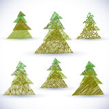 Christmass tree vector set. Grunge holiday objects  on white Royalty Free Stock Photo