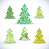 Christmass tree vector set. Grunge holiday objects  on white Stock Image