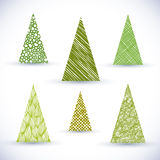 Christmass tree vector set. Royalty Free Stock Photos