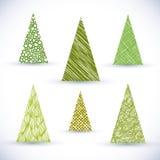 Christmass tree vector set. Hand drawn Christmass tree vector set Royalty Free Stock Photos