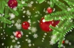 Christmass trybowi płatki śniegu spada na zieleni gałąź Bokeh jedlinowym tle ilustracja wektor